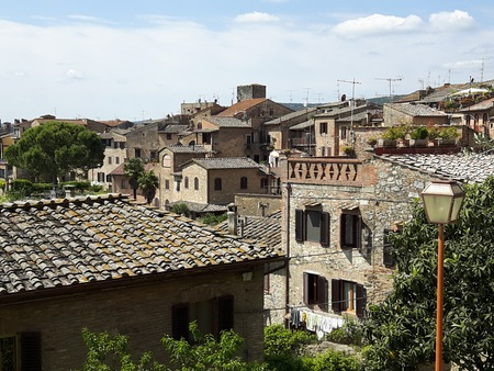 mediaval: The aerial view from the hill in San Gimignano village, Italy