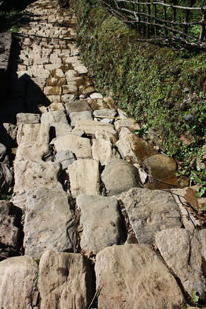 slope: The stone terraced slope staircase in Nepal