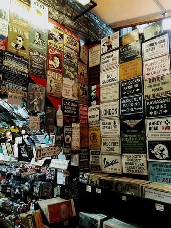 print: A unique stall selling vintage signs at camden market in london Stock Photo