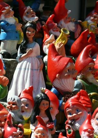 dwarfs: The beautiful wooden doll display in front of a building, Switzerland