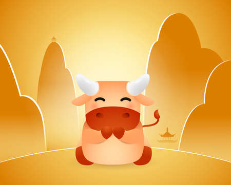 Year of the Ox. Chinese New Year. Cute Little Ox with background