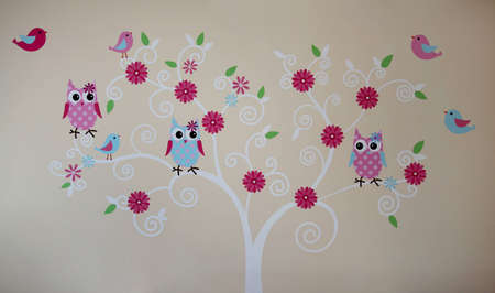 wall painting: Owls and birds on the tree wall painting Stock Photo
