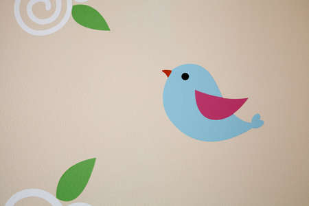 wall painting: Blue bird wall painting Stock Photo