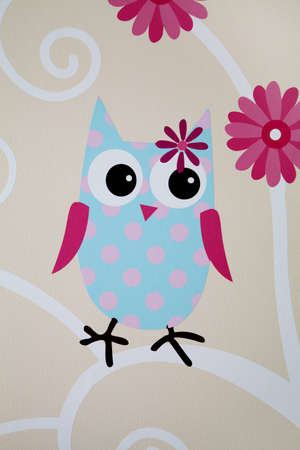 wall painting: Blue owl wall painting