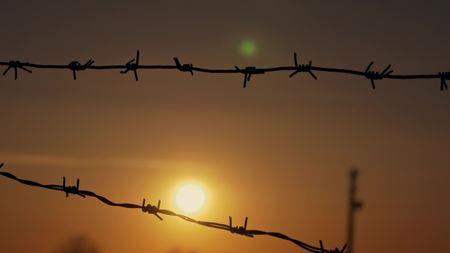barbed wire prison sunset orange background Stockfoto