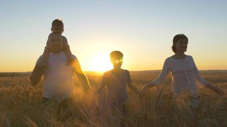 Happy family father mom and two sons walking in a wheat field and watching the sunset