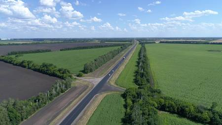 Aerial photography of traffic on the road in rural areas