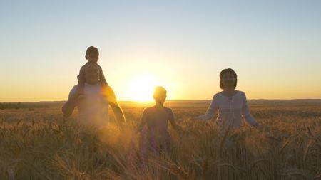 Het gelukkige moeder van de familievader en twee zonen die op een tarwegebied lopen en op de zonsondergang letten Stockfoto - 88931193