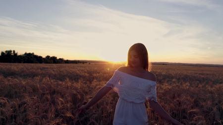Romantic girl in a white dress walking in the golden wheat fields in the sun