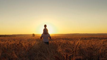 Het gelukkige moeder van de familievader en twee zonen die op een tarwegebied lopen en op de zonsondergang letten Stockfoto - 88931198