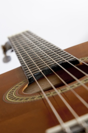 string instrument: Acoustic guitar close-up Stock Photo