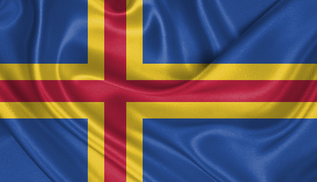 Flag of Aland Islands Stock Photo