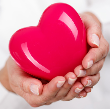 prophylaxis: Female doctorss hands holding and covering red toy heart. Doctors hands closeup. Medical help, prophylaxis or insurance concept. Cardiology care,health, protection and prevention