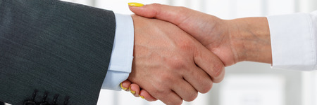 handclasp: Male and female handshake in office. Businessman in suit shaking womans hand. Serious business and partnership concept. Partners made deal, sealed with handclasp. Formal greeting gesture. Letterbox