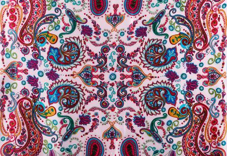 disegni cachemire: paisley pattern campione di seta tradizionale velo. Orientale regali di stoffa e regali concetto Archivio Fotografico