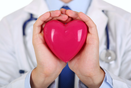 resuscitation: Male medicine doctor hands holding red toy heart in front of his chest closeup. Medical help, cardiology care, health, prophylaxis, prevention, insurance, surgery and resuscitation concept