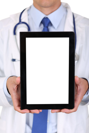 information equipment: Male medicine doctor holding digital tablet pc and showing screen to camera. Medical equipment, modern technology and communication concept. Therapeutist using portable computer searching information