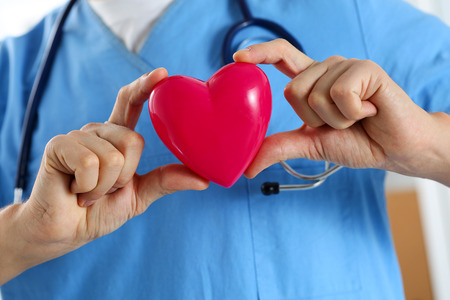 Male medicine doctor wearing blue uniform hold in hands red toy heart in front of his chest closeup. Cardio therapeutist, physician make cardiac physical, heart rate measure, arrhythmia concept