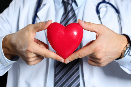 myocardium: Male medicine doctor wearing hold in hands red toy heart in front of his chest closeup black background. Cardio therapeutist, physician make cardiac physical, heart rate measure, arrhythmia concept