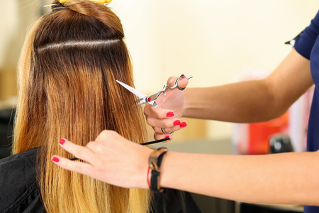 picking fingers: Female hairdresser hold in hand between fingers lock of blonde hair, comb and scissors closeup. Keratin restoration, latest trend, fresh idea, haircut picking, shorten tips, instrument store concept Stock Photo
