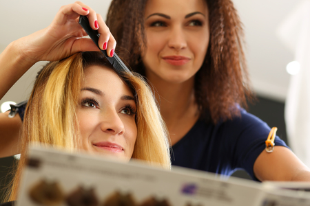 Female hairdresser hands holding comb and hair lock making hairdo to pretty blonde visitor. Keratin restoration and repair, latest trend, fresh idea, new haircut picking, instrument store concept