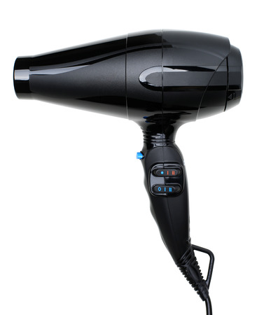coiffeur: Black shiny hairdryer isolated on white background