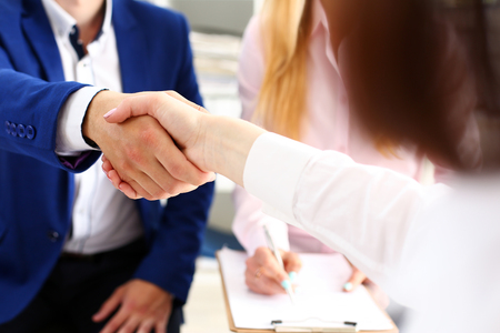 Man in suit shake hand as hello in office closeup. Friend welcome, mediation offer, positive introduction, greet or thanks gesture, summit participate approval, motivation, strike arm bargain concept Reklamní fotografie - 81863691