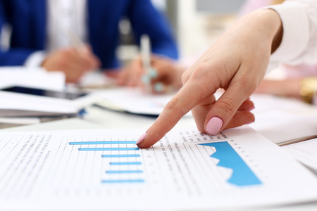 Female arm point pinger in financial graph solve and discuss problem closeup. Fresh view at situation, board council, sale adviser, examine profit, audit job, stock exchange, irs inspector market