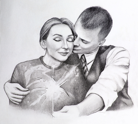 Illustration of two hugging people in love