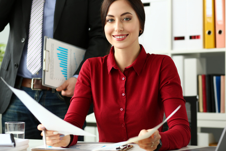 Group of people hold in arms financial papers solve and discuss problem portrait. Fresh view review situation new angle look professional training white collar investment and finance concept