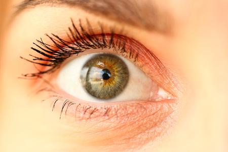 Nahaufnahme des erstaunlichen weiblichen grün gefärbten rechten Auges mit einem winzigen bisschen Kosmetikum herum