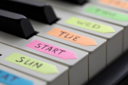 Empty piano key with start word on it as begin of new lifestyle and sport activities and future achievements prospects concept
