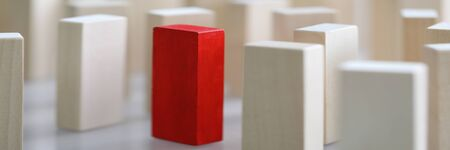 Close-up view of one different red cube among other identical wooden blocks. Business organization and individuality, leadership and uniqueness concept 版權商用圖片