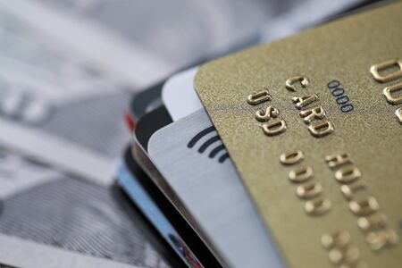 Variety banking products for credit card holder. Credit card with grace period. Payment for goods and services via Internet. Using contactless technology on credit card. Cash withdrawals Stock Photo