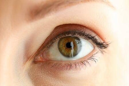 Female left orange green coloured amazing eye close-up