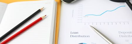 Close-up of important documents of loan distribution. Graph and bar chart. Datebooks with notes, pencils, magnifier and tablet on workdesk. Business and company concept