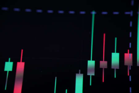 Close-up of red and green columns on black screen. Future currency. Bitcoin analysis trend movement. Growth and improvement. Investment ecommerce and finance concept