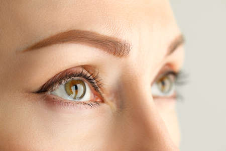 Look of a woman with the effect of tinted eyebrows. Eyes of a girl with everyday makeup Stockfoto