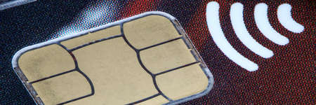 Close-up of glossy credit card. Technical standard for smart payment cards. Way of wire transfer for services or goods. Digital banking and repayment concept Stock fotó