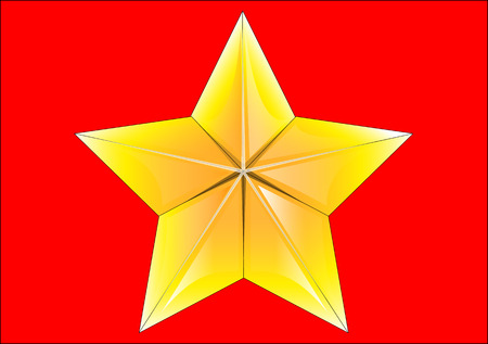 five star: Five-pointed star on a red background.
