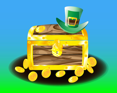 Chest with leprechaun coins scattered around coins and a green hat Illustration