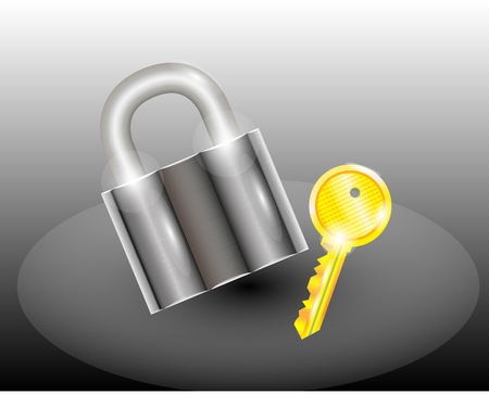 private access: A padlock with a key, pictured on a gradient phonemic and white color Illustration