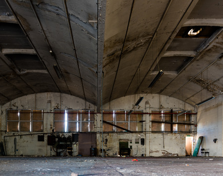 Inside a derelict warehouse Stock Photo