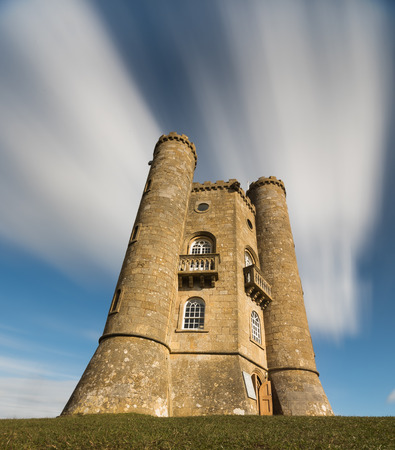 broadway tower: Sweeping clouds over a view of Broadway Tower in the Cotswolds