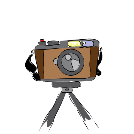 Pocket Camera Sketch Vector with Tripod