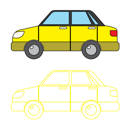 saloon: Yellow Saloon Car Vector Coloring