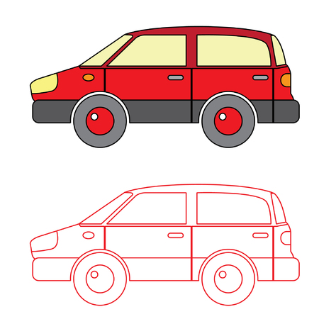 saloon: Red Saloon Car Vector Coloring