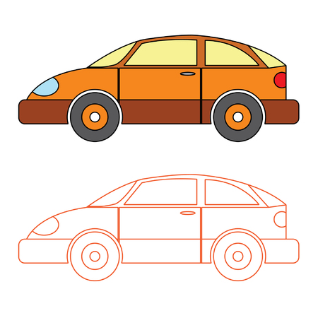 saloon: Orange Saloon Car Vector Coloring