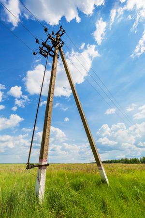 powerline: Powerline against a background of the cloudy sky Stock Photo