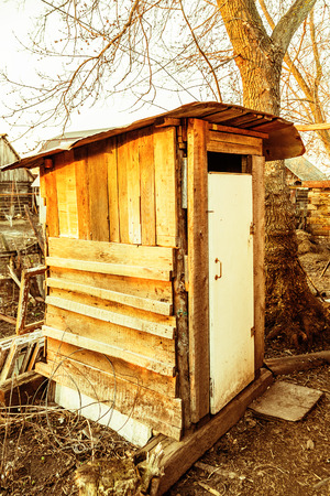 outhouse: Old wooden outhouse in the russian countryside